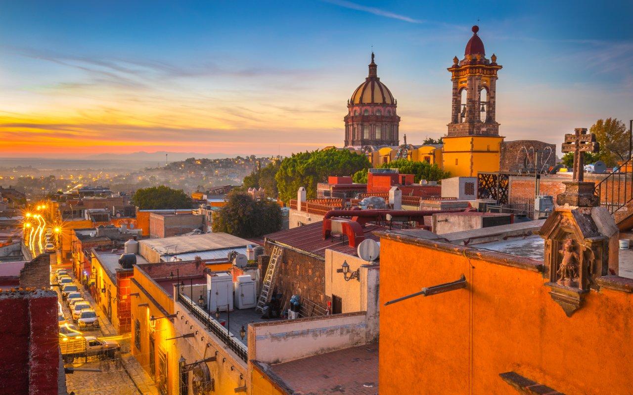 Couché de soleil a San Miguel de ALlende au Mexique