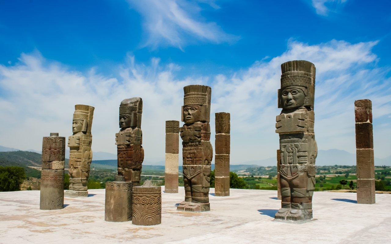 Sculptures Toltec a Tula au Mexique