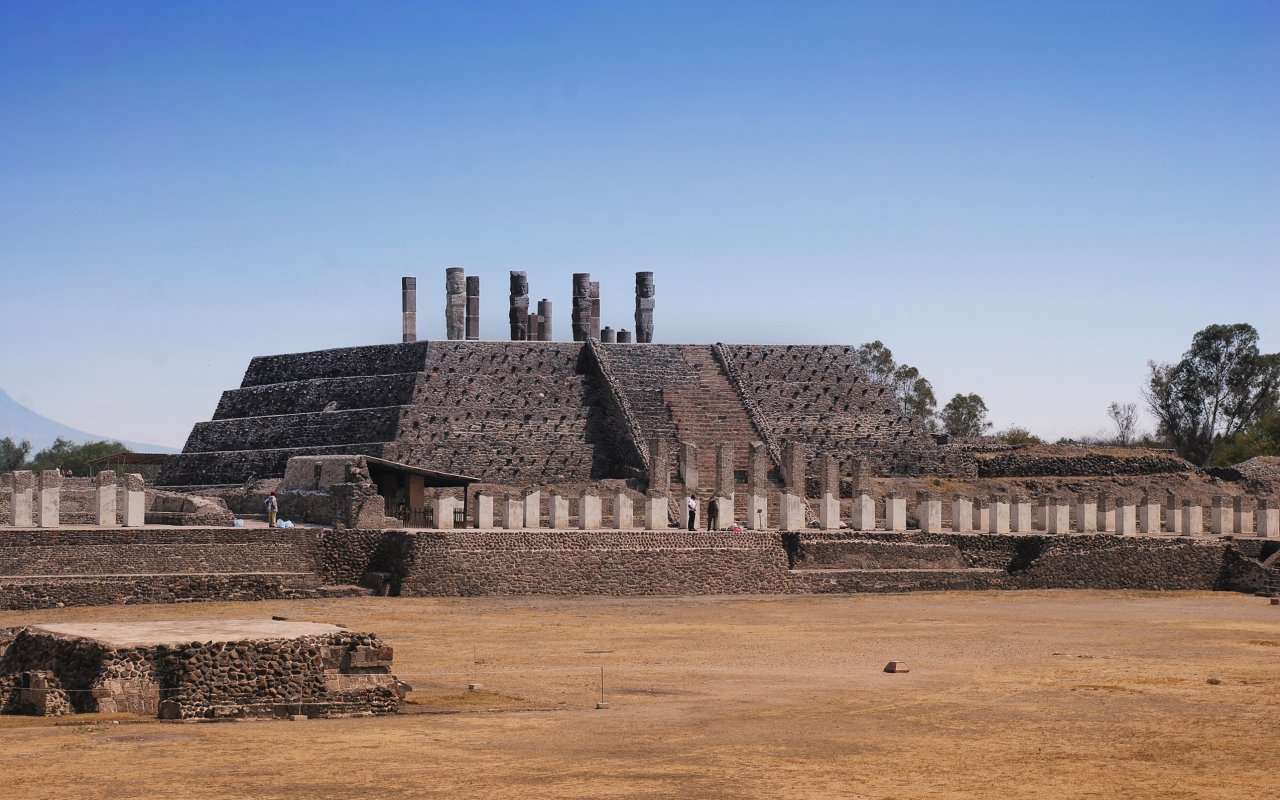 Pyramid of Quetzalcoatl in Tula - archaeological site in Mexico